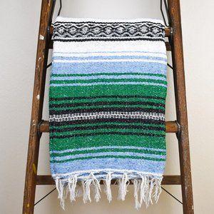 Boho Mexican Blanket Mountain High Green & Blue